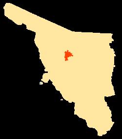 Vị trí của đô thị trong bang Sonora