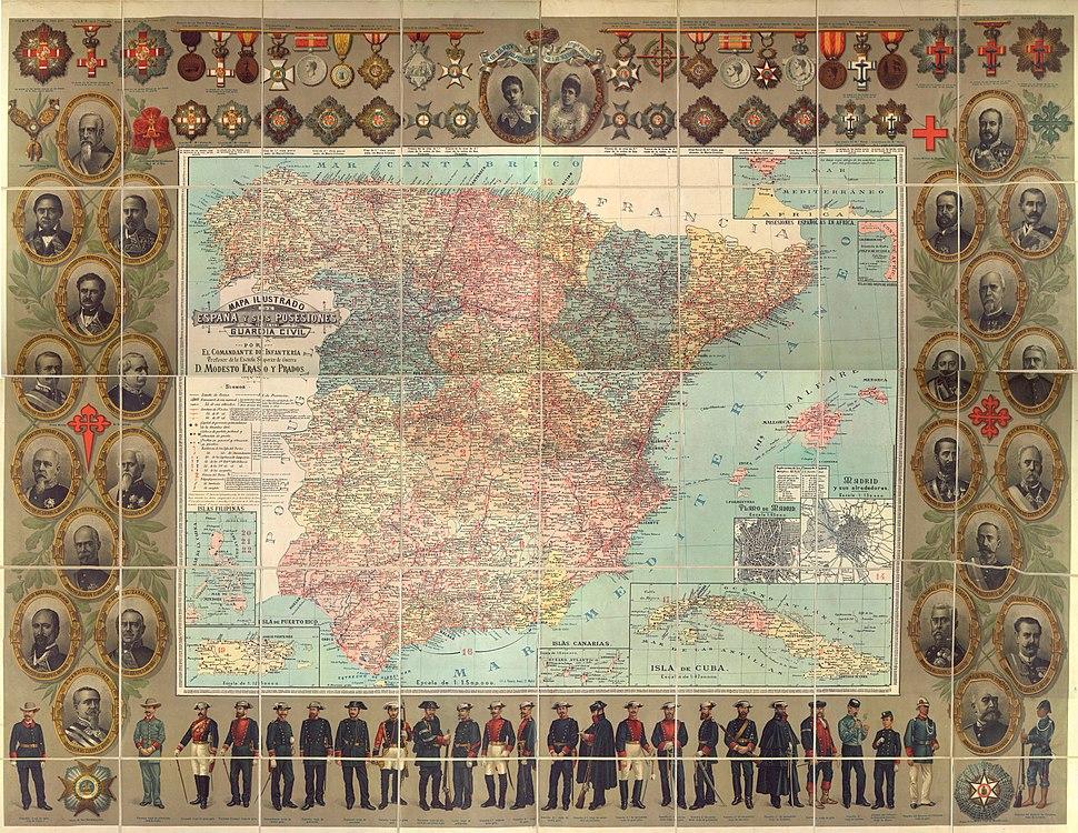 Mapa ilustrado del Reino de Espa%C3%B1a y sus posesiones para la Guardia Civil