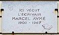 Marcel Aymé plaque - 2 Place Marcel Aymé, Paris 18.jpg