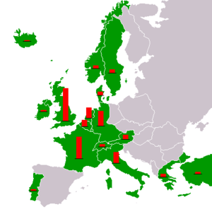 Map of Cold-War era Europe and the Near East showing countries that received Marshall Plan aid. The red columns show the relative amount of total aid per nation.
