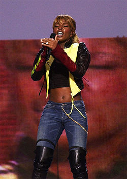 Contemporary R&B singer Mary J. Blige performs on the National Mall during the NFL Kickoff Live 2003 Concert.