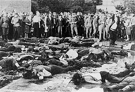 The anti-Jewish pogrom in Kaunas, in which thousands of Jews were killed in the last few days of June 1941 Massacre Kovno Garage 27 JUNE 1942.jpg