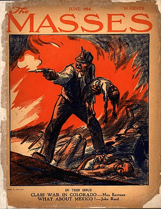 The Masses - June 1914 issue of The Masses. Cover Illustration was drawn by John French Sloan and depicts the Ludlow Massacre