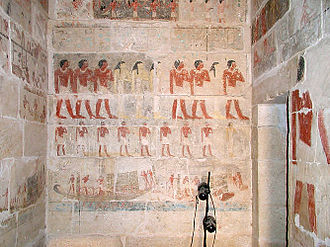 Khnumhotep and Niankhkhnum - East wall in the first chamber.