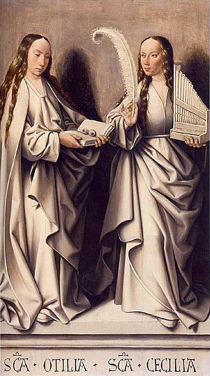 Master of Frankfurt - Image: Master of Frankfurt, Two Saints, St. Odilia and St. Cecilia, ca. 1503–1506, oil on panel, 44 1 2 x 26 3 4 in., Historisches Museum, Frankfurt