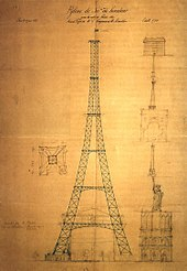 First drawing of the Eiffel Tower by Maurice Koechlin including size comparison with other Parisian landmarks such as Notre Dame de Paris, the Statue of ...