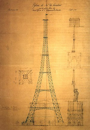 Eiffel Tower - First drawing of the Eiffel Tower by Maurice Koechlin including size comparison with other Parisian landmarks such as Notre Dame de Paris, the Statue of Liberty and the Vendôme Column