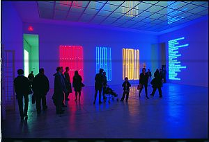 Neon lighting - Maurizio Nannucci, Puro rosso puro giallo puro blu, 1990; Anthology 1967/1990; Archetipo, 1968, installation at Wiener Secession, Wien 1990