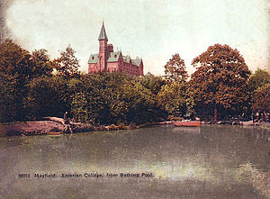 Mayfield College - Mayfield College and bathing pool post card, pre-1913