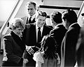 Mayor Raymond L. Flynn greeting President Ronald Reagan at airport with Margaret Heckler (9516906731).jpg