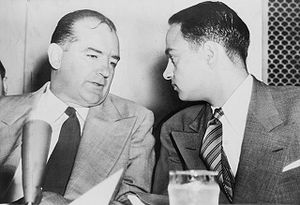 McCarthy chats with Roy Cohn (right) at the Army-McCarthy hearings.
