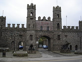 Macroom - View of the Castle Arch and cannons