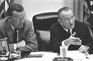 Harry McPherson - McPherson with President Johnson. Photo courtesy Lyndon Baines Johnson Library and Museum.