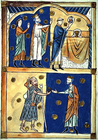 Leofric, Earl of Mercia - Above: King Edward the Confessor and Earl Leofric of Mercia see the face of Christ appear in the Eucharistic host; below: the return of a ring given to a beggar who was John the Baptist in disguise. 13th century abridgement of Domesday Book