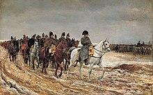Peinture représentant Napoléon et ses maréchaux lors de la campagne de France