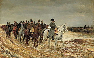 Battle of Montmirail - Napoleon, shown with his marshals and staff, leads his army over roads made muddy by days of rain. Though his empire was crumbling, Napoleon proved to be a dangerous opponent in the Six Days Campaign.