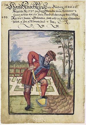 Gardening - A gardener at work, 1607