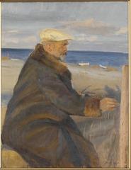 Michael Ancher målande på stranden (Michael Ancher dessinant sur la plage)