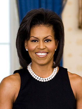Wikipedia: Michelle LaVaughn Obama at Wikipedia: 280px-Michelle_Obama_official_portrait_headshot