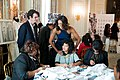 Michelle Obama speaks with designer Rory Duffy and students in the State Dining Room, 2014.jpg