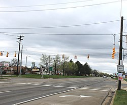 Michigan Avenue at Beech Daly Road, facing west