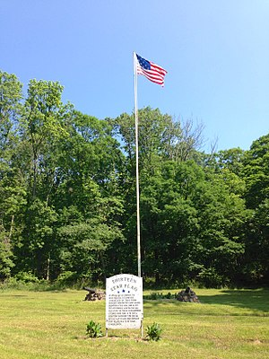 Middlebrook encampment - A Thirteen Star Flag at the Middlebrook encampment is displayed continuously.