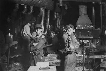Child labourers in an Indiana glass works. Trade unions have an objective interest in combating child labour. Midnight at the glassworks2.jpg