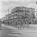 Militaire eenheid tijdens de militaire parade te Haifa bij gelegenheid van de ee, Bestanddeelnr 255-0988.jpg
