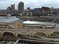 Mill City Museum 24 view of Saint Anthony Falls, Lock, and Dam, and Stone Arch Bridge.jpg