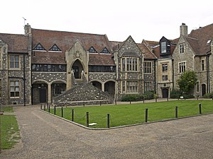 The King's School, Canterbury - The inner of Mint Yard, with the Parry Block on the centre, built in 1881