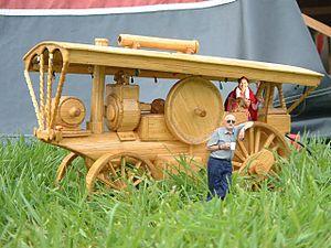 Matchstick model - A matchstick model of a steam road locomotive