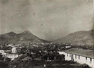 Mitrovica, Kosovo - Panoramic view of Mitrovica during World War I.