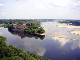 Confluence of the narew and the vistula at modlin poland