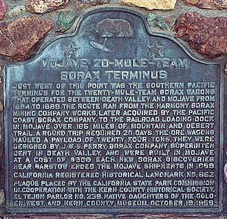 California Historical Landmarks in Kern County - Image: Mojave borax terminus plaque