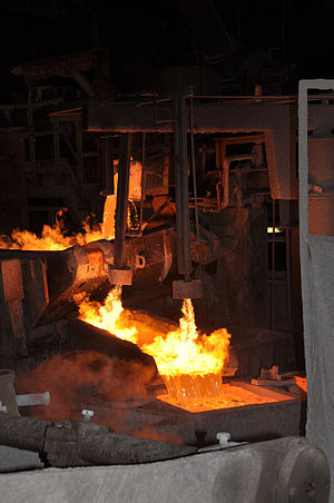Mopani Copper Mines - Image: Molten copper being poured MCM Mufilira