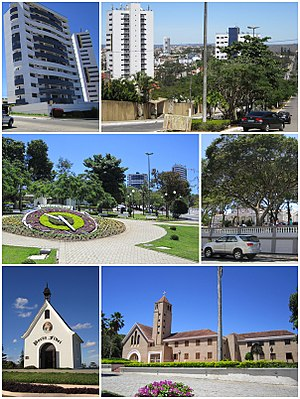 Garanhuns - Top left: Heliopolis area   Top right: Gonçalves Maia Street   Middle left: Floral Clock (Relógio das Flores)   Middle right: Dom Moura Square   Bottom left: Mãe Rainha Sanctuary    Bottom right: Saint Joseph Seminary (Seminário São José)