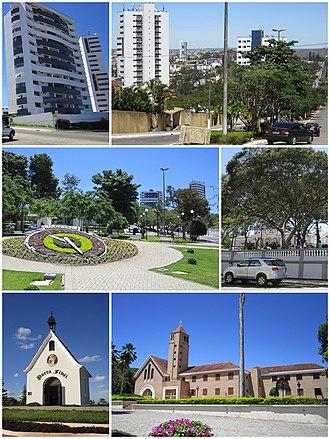 Garanhuns - Top left: Heliopolis area   Top right: Gonçalves Maia Street   Middle left: Floral Clock (Relógio das Flores)   Middle right: Dom Moura Square   Bottom left: Mãe Rainha Sanctuary    Bottom right: Saint Joseph Seminary (Seminário São José)