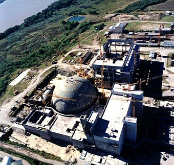Atucha Nuclear Power Plant was the first nuclear power plant in Latin America. The electricity comes from 3 operational nuclear reactors: The Embalse Nuclear Power Station, the Atucha I and II. Montaje de Atucha II.jpg