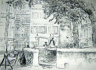 John Doman Turner - Montivilliers was one of the first works to be discovered after John Doman Turner's death featured in the Wendy Baron book Camden Town Group (1979)