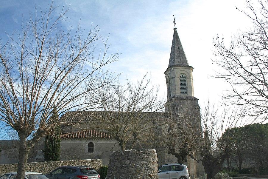 Montoulieu (Hérault) - façade nord de l'église de l'Invention-de-Saint-Étienne
