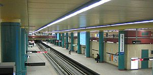 McGill station - McGill station in its former colors of green and burgundy, changed in 2010.