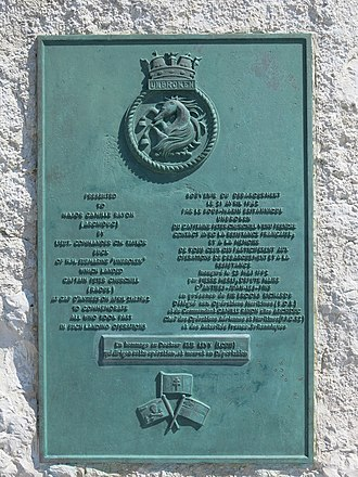 Marcel Clech - Monument commemorating the landing of Capt. Peter Churchill from HMS Unbroken at Cap d'Antibes on 21 April 1942