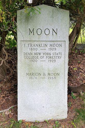 F. Franklin Moon - Gravestone of F. Franklin and Marion B. Moon, Oakwood Cemetery, Syracuse, New York