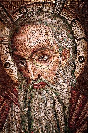 Moses mosaic on display at the Cathedral Basil...