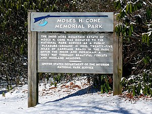 Moses H. Cone Memorial Park - Park sign near Flat Top Manor.