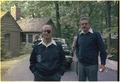 Moshe Dayan, Israeli Foreign Minister with Ezer Weizman, Israeli Defense Minister, at Camp David. - NARA - 181318.tif