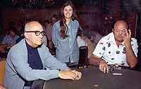 Johnny Moss, Becky Binion, and Puggy Pearson at the 1974 World Series of Poker.