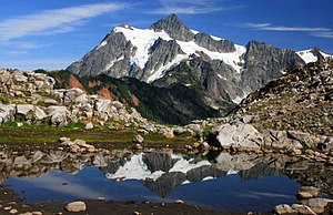Cascade Range - West side view of Mount Shuksan in summer as seen from Artist Point in Washington