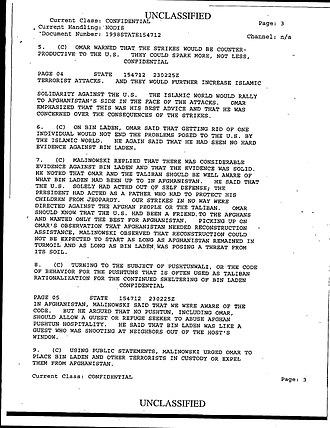 Operation Infinite Reach - Excerpt from Mullah Omar's August 22, 1998, phone call with a U.S. diplomat