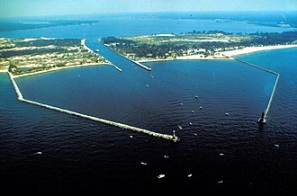 Muskegon, Michigan - The entrance to Muskegon Lake from Lake Michigan at Muskegon, Michigan